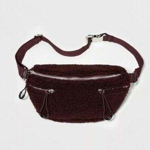 Handbags - Maroon Sherpa Fanny Pack